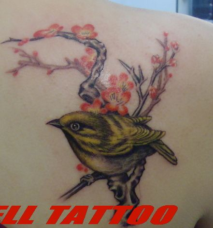 喜鹊梅花纹身图案