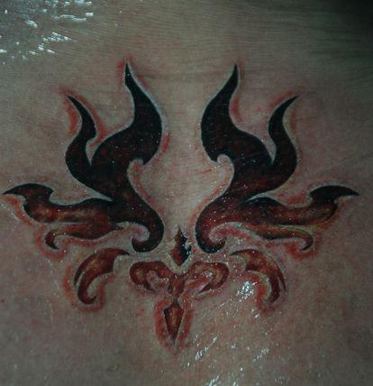 背部精美好看的火焰图腾纹身图案图片