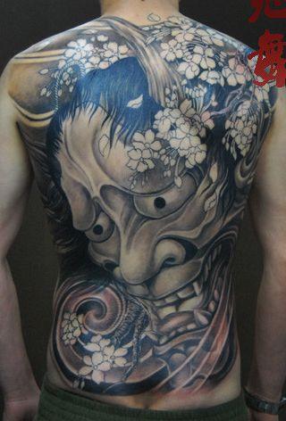 霸气的满背般若纹身图案