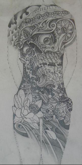 象神纹身图案 2012-05-30 16:08:23 超酷霸气的满背不动明王纹身手稿图片