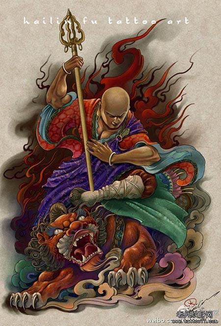 经典超酷的地藏王菩萨纹身手稿 武汉纹身店之高清图片