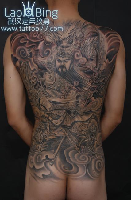 大背关公纹身      武汉老兵纹身公众微信为你提供